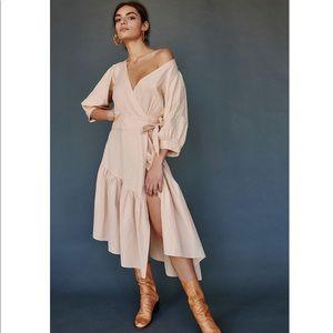 Free People Linen Wrap Midi Dress